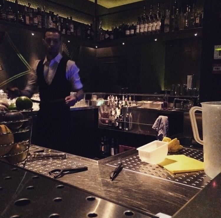 Abe nightclub Amsterdam bar view barman making drinks