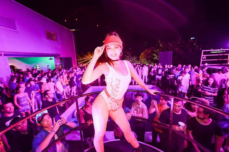 Ageha nightclub Tokyo sexy dancer on stage