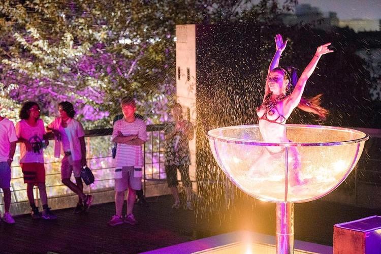 Ageha nightclub Tokyo hot dancer in champagne glass
