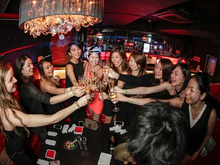 Alife nightclub Tokyo group of girls drinking partying
