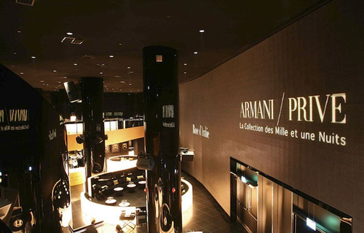 Party at Armani Prive VIP nightclub in Milan