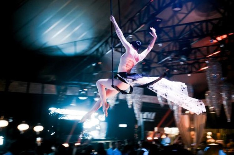 Artel Bessonnitsa nightclub Moscow dancer in the air