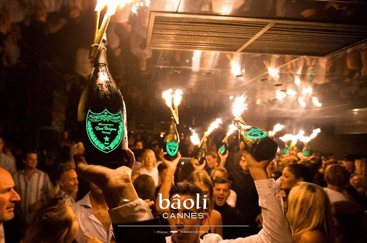 Party at Baoli VIP nightclub in Cannes