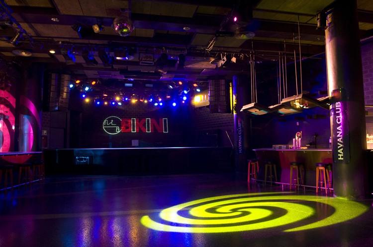 bikini nightclub barcelona view of the club with colored lights and empty dance floor