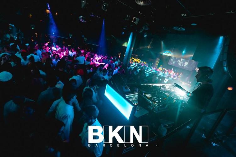 bikini nightclub barcelona full night party dancing people having fun dj playing music