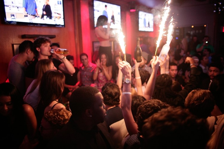 Party at Bounce Sporting Club VIP nightclub in New York