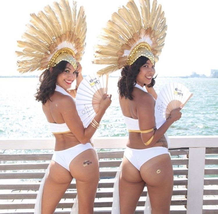 Cabana Pool Bar club Toronto two brunette tanned sexy girls dressed in white swimsuits