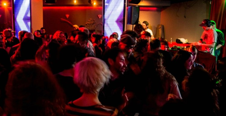 Party at Cafe Berlin VIP nightclub in Madrid