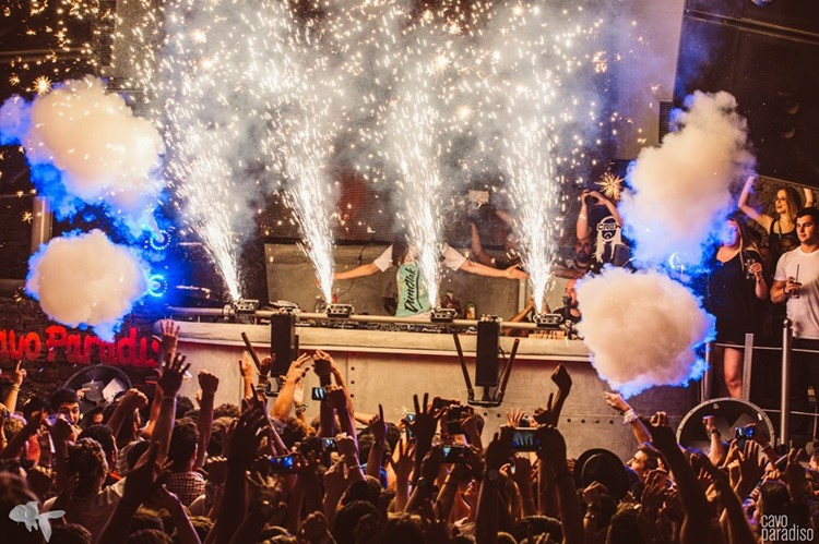 Cavo Paradiso nightclub Mykonos dj playing music at a big party concert special effects
