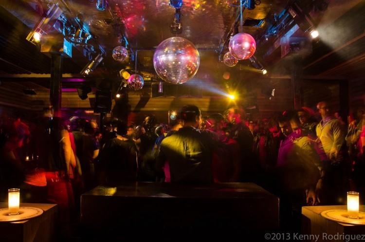 Cielo nightclub New York view of the club dark lights balloons