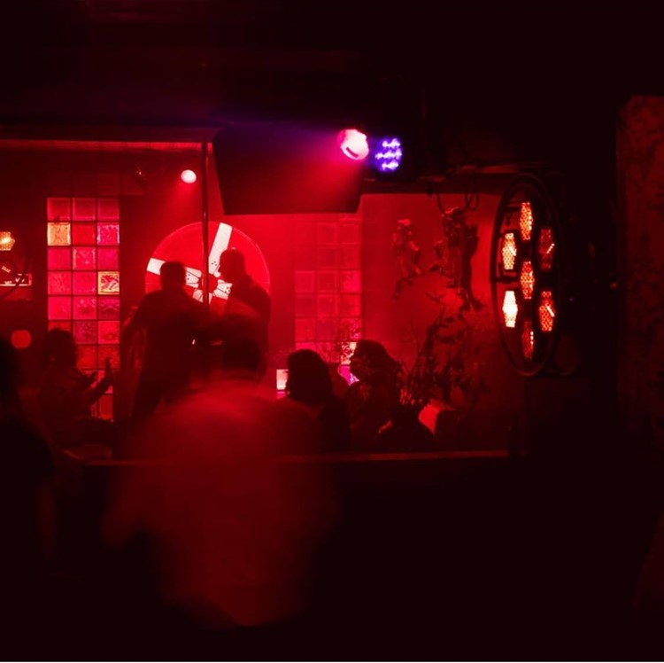 Club NL nightclub Amsterdam view of the bar red lights