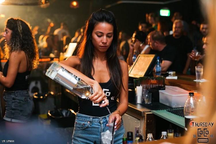 Coco nightclub Tel Aviv brunette waitress bartender