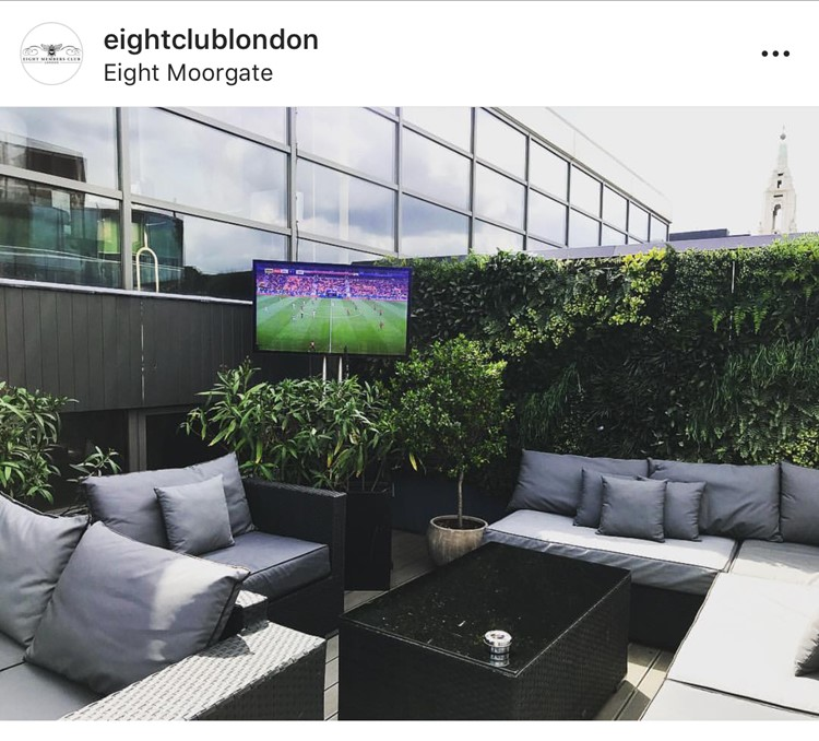 TV screen on the terrace at Eight