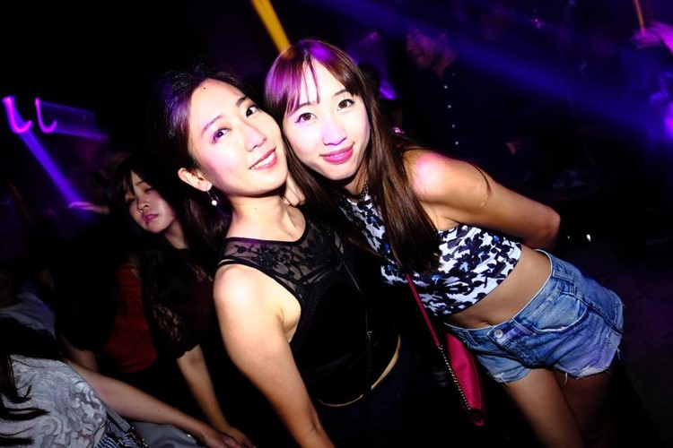 Ele nightclub Tokyo two girls having fun party