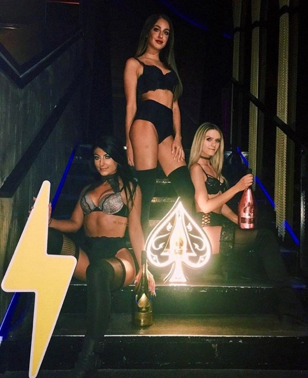 Electric Hotel nightclub Chicago three brunette blonde hot girls dressed in sexy black lingerie holding champagne bottles