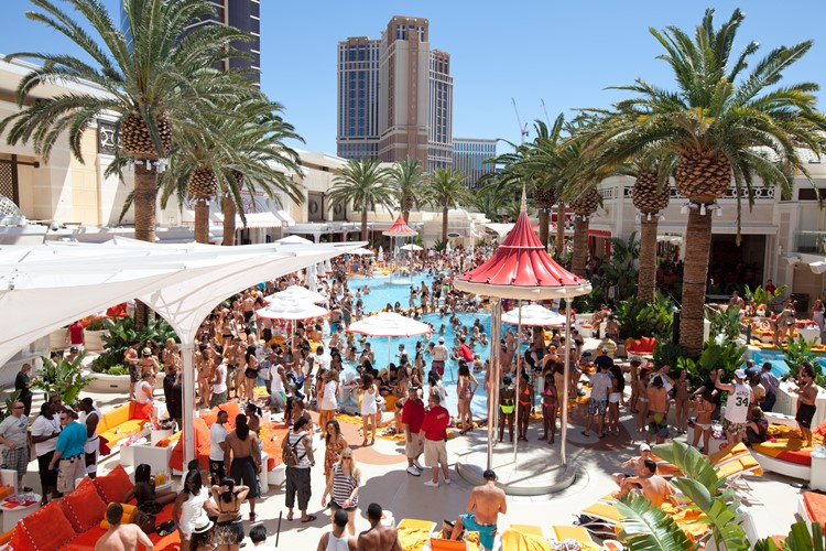 Party at Encore Beach Club VIP nightclub in Las Vegas