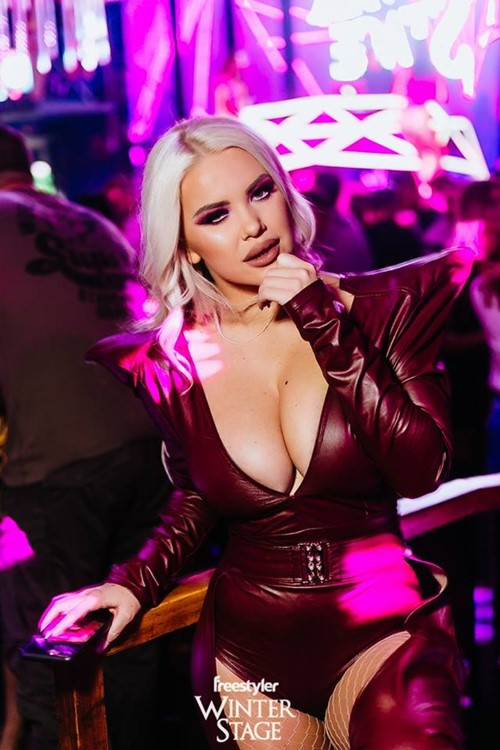 Freestyler nightclub Belgrade sexy blonde girls big cleavage sexy leather red bodysuit having fun