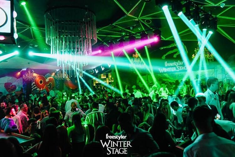 Freestyler nightclub Belgrade crowd having fun party music djs dance lights show