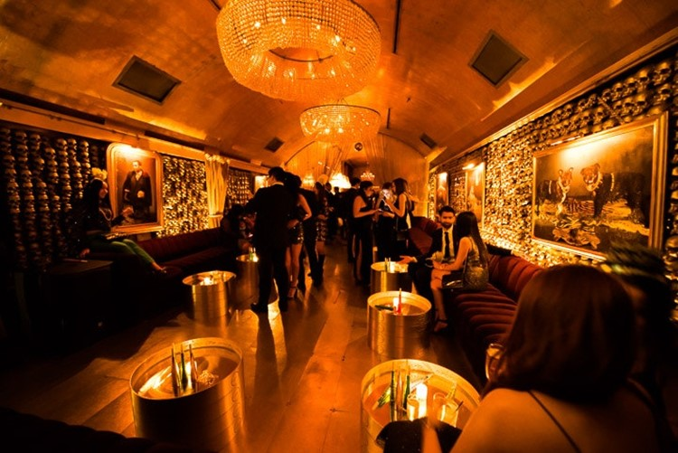 Goldbar nightclub New York City gold luxurious interior design lounge bar area posh