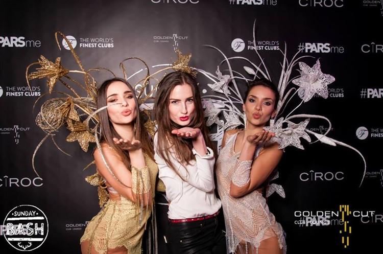 Golden Cut nightclub Hamburg three ladies attending big event dressed in fancy bodysuits