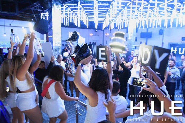 Hue nightclub San Francisco big all white event party alcohol bottles