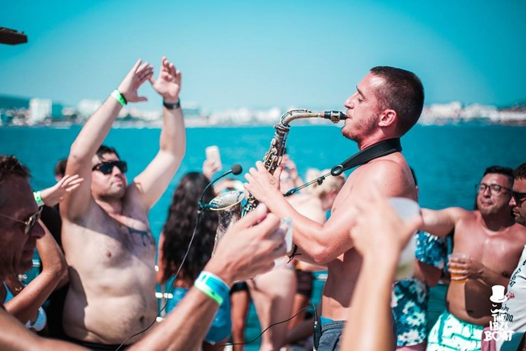IBZ Boat Party Ibiza instrument singer trumpet sexy people
