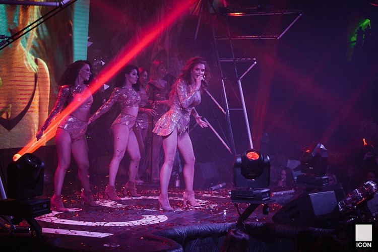 Icon nightclub Moscow exotic dancer singer show on stage people partying