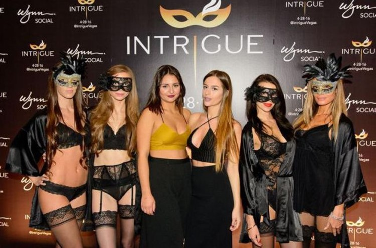 intrigue nightclub las vegas lingerie event 7 sexy grils dressed only in black attractive lingerie with eye masks on models showing off