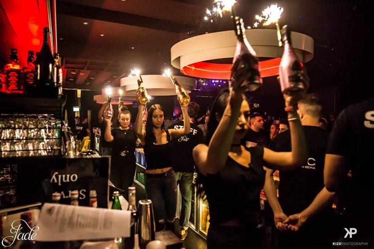 Jade Club nightclub Zurich waitresses big bottles of vodka champagne alcohol table service