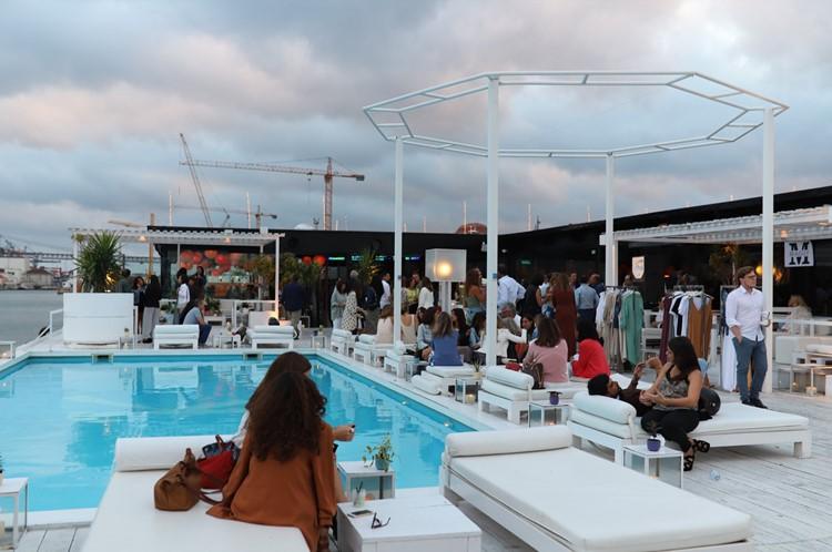K Urban Beach nightclub Lisbon people having fun drinking by the swimming pool
