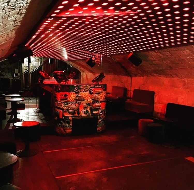 Le Panic Room nightclub Paris view of the lounge area bar red lights
