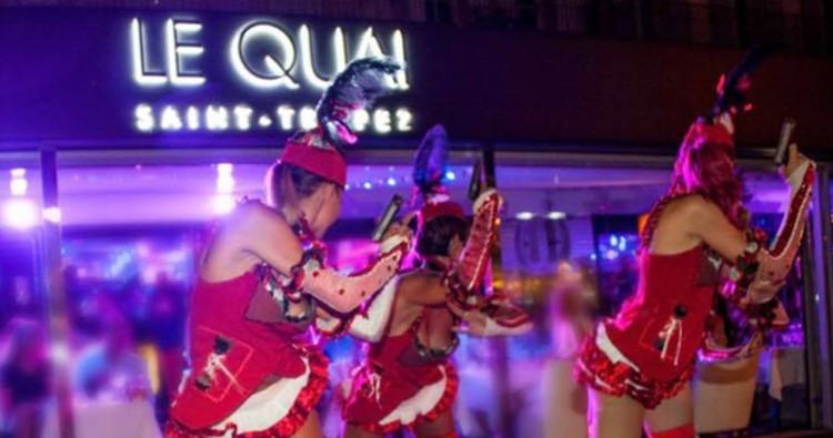 le quai nightclub st tropez exotic dancers in red sexy costumes and fake guns