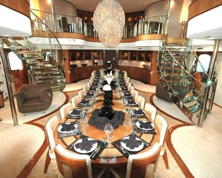 Dining table at the Legend superyacht