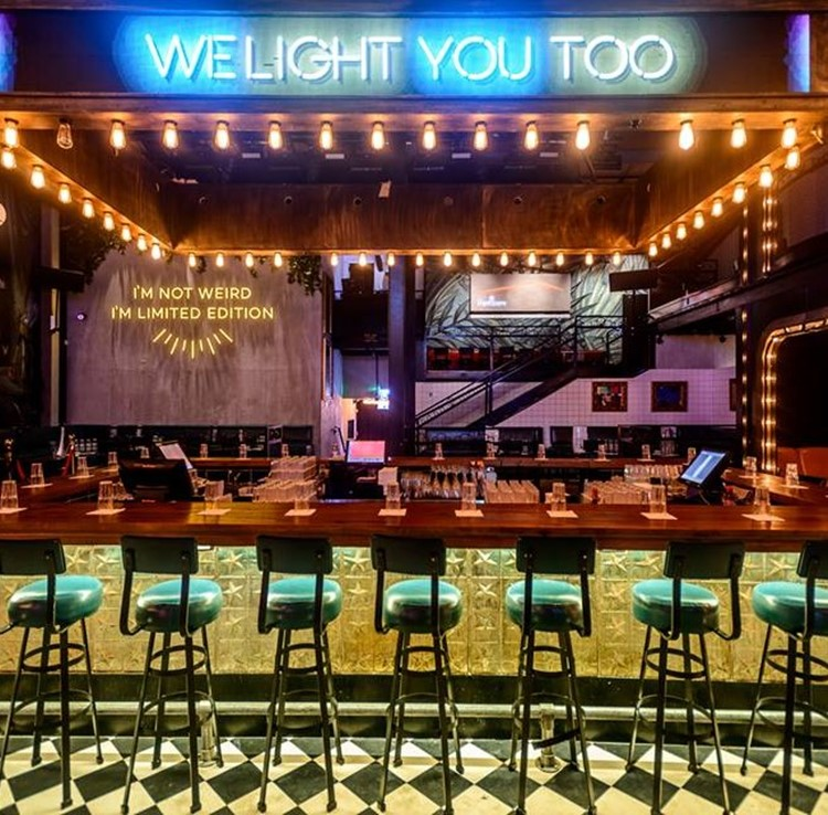 Lighthouse nightclub Tel Aviv view of the bar lights