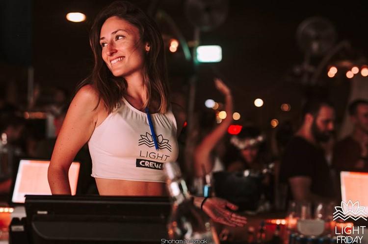 Light House nightclub Tel Aviv pretty brunette girl in sexy crop top