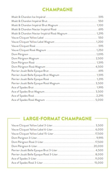 Liquid Pool Bottle Service Table Pricing Reservations