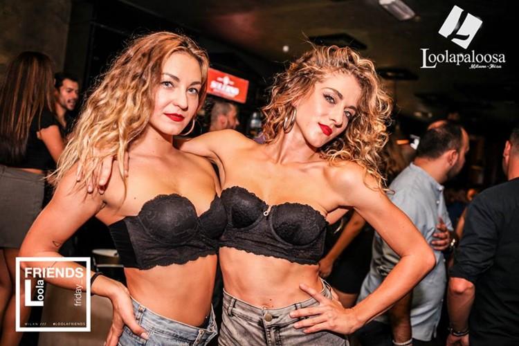 Loolapaloosa nightclub Milan party sexy girl in black lingerie