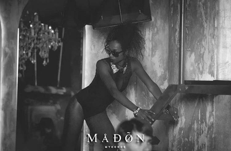 Madon nightclub Mykonos dancer dressed in black bodysuit