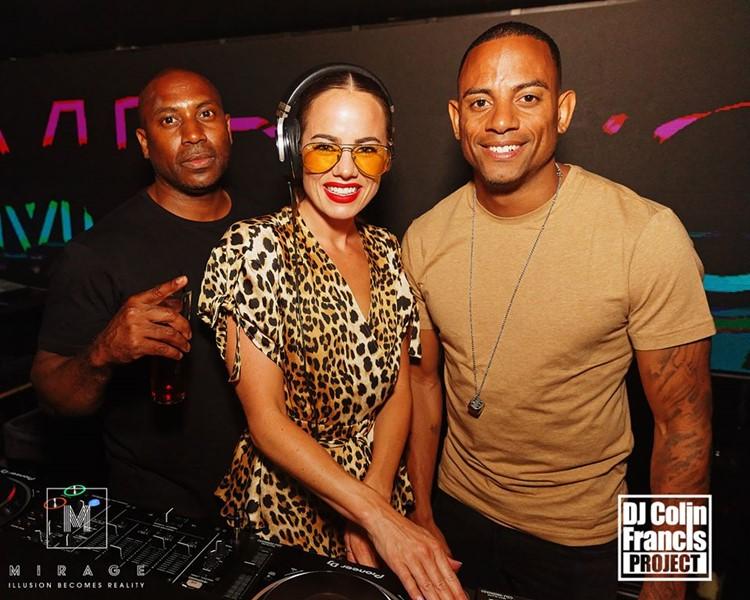 Mirage nightclub Marbella Dj Colin Fancis night playing music with two men