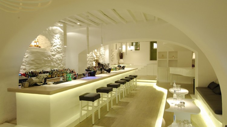 Moni nightclub Mykonos view of the interior of the club and bar white walls and modern furniture