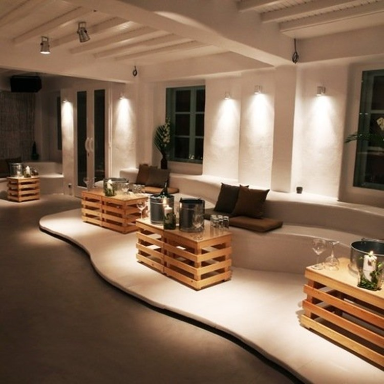 Moni nightclub Mykonos view of the interior inside the club modern interior design white beige colors