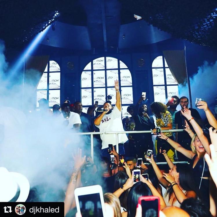 Mr Jones nightclub Miami celebrity singer rapper Dj Khaled partying