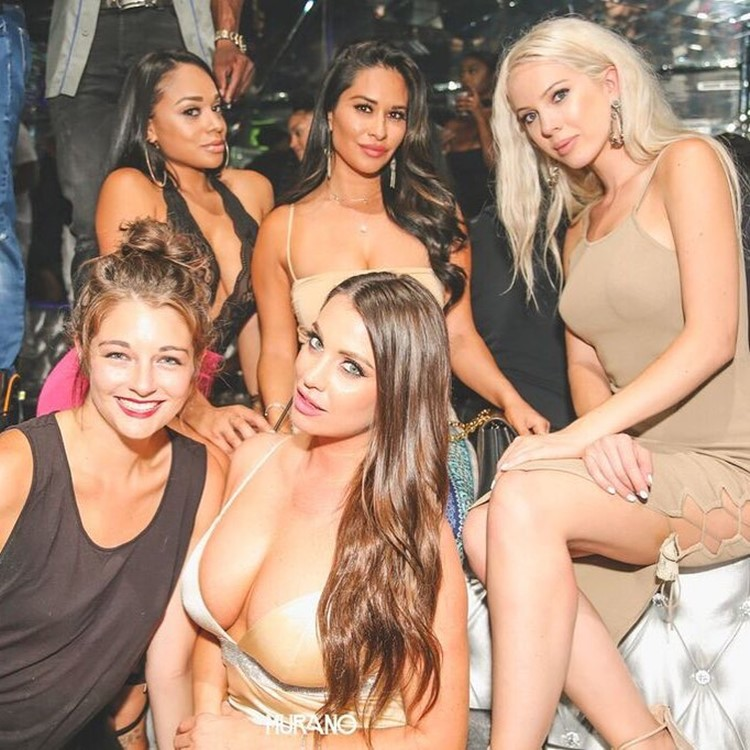 Murano nightclub Los Angeles group of hot girls blonde brunettes in sexy mini dresses