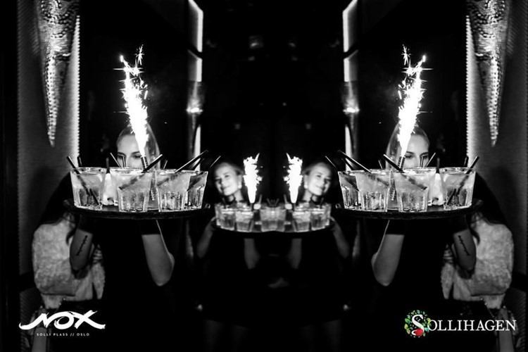 Nox and Sollihagen Club nightclub Oslo party drinks table service alcohol bottles champagne vodka