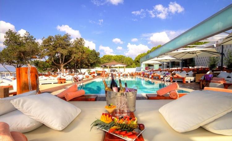 Nikki Beach beachclub Ibiza view of the lounge area swimming pool
