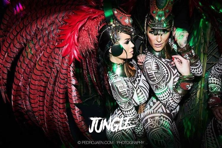 Olivia Valere nightclub Marbella dancers on the jungle night dressed in costumes