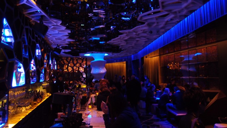 Ozone club Hong Kong night view of the bar and lounge area people drinking