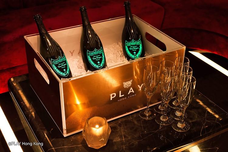Play nightclub Hong Kong champagne bottles