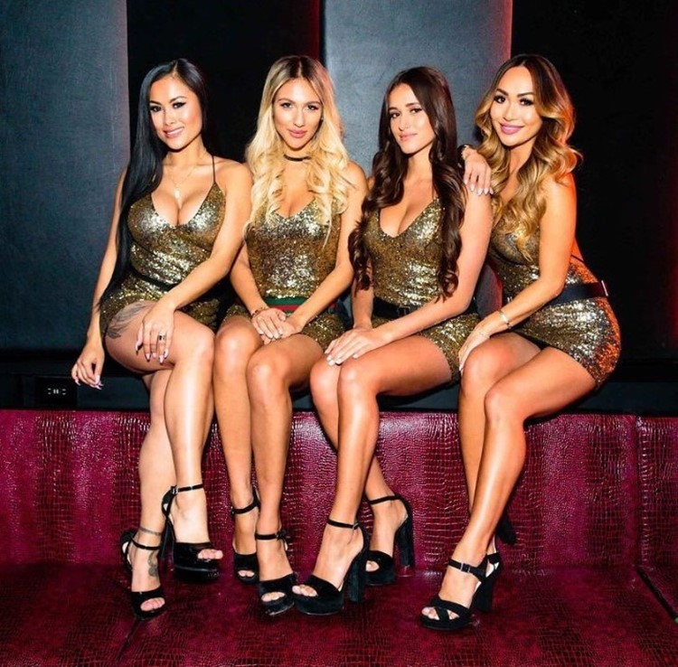 Rebel nightclub Toronto group of four blonde and brunette sexy girls dressed in mini glittery dresses