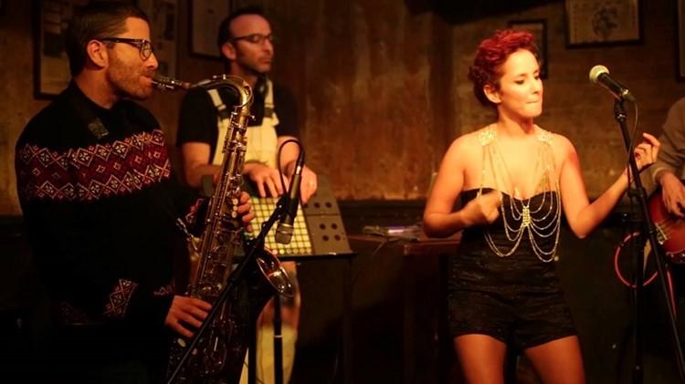 Radio EPGB nightclub Tel Aviv musicians singer blonde girl trumpet player